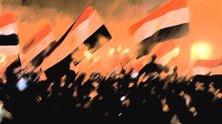 Bildet viser den arabiske våren i Egypt