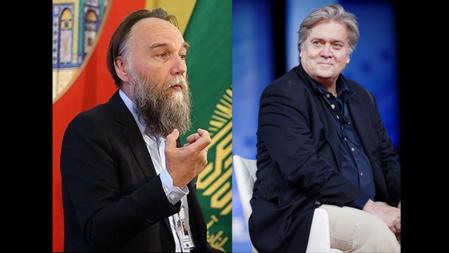 Bildet viser en collage med Aleksander Dugin og Steve Bannon
