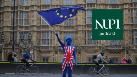 Bildet viser en mann kledd ut som det britiske flagget mens han vifter med EU-flagget