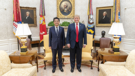The image shows President Shinzo Abe of Japan and President Donald Trump of USA