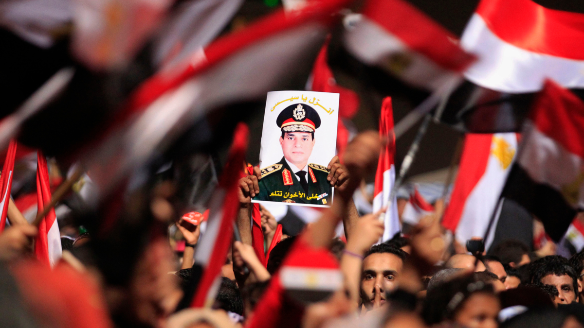 Bildet viser tilhengere av Egypts nåværende president General El-Sisi.