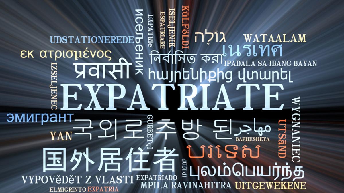 Bilde som viser hovrdan ekspatriat er skrevet på flere språk.