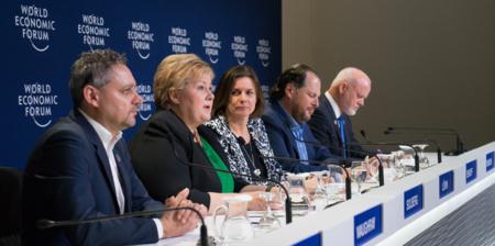 Bildet viser statsminister Erna Solberg i Davos i januar 2018.
