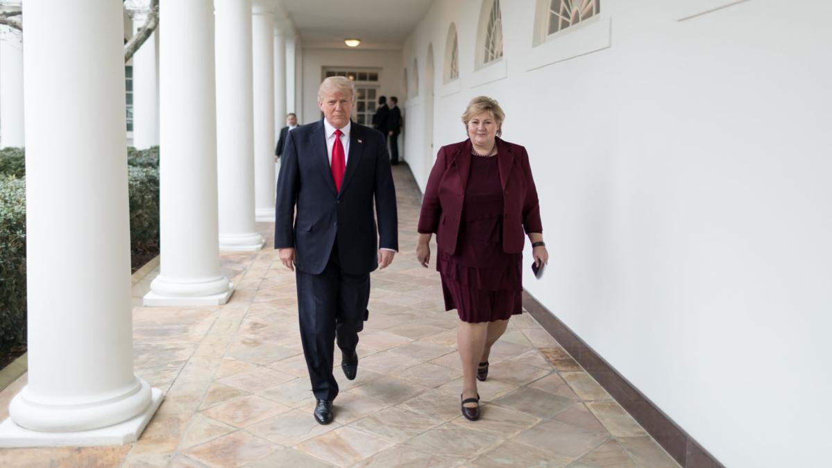 Bildet viser President Donald Trump og statsminister Erna Solberg