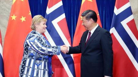 Bildet viser statsminister Erna Solberg og Kinas president Xi Jinping