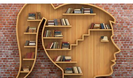 Bildet viser en bokhylle formet som et kvinnehode