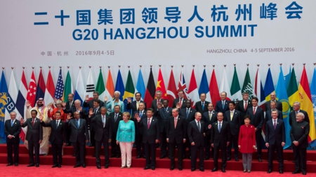 Bildet viser lederne for G20-landene på toppmøtet i Kina i 2016