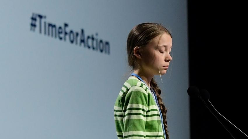 Bildet viser Greta Thunberg på klimatoppmøtet i 2019