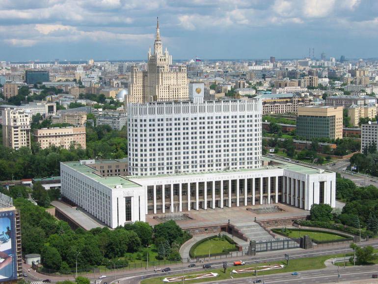 Bilde som viser Det hvite hus i Moskva.