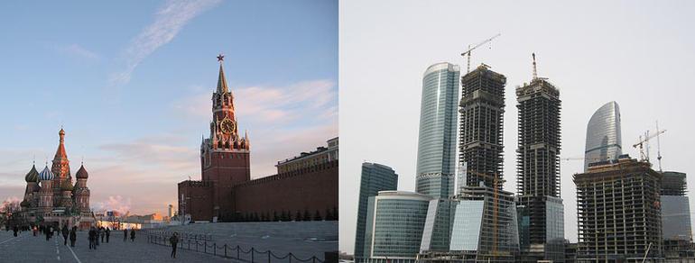 Bilde som viser kontrast mellom gammelt og nytt i Moskva.