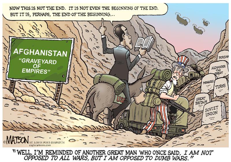 En tegning med Obama og USA i hovedrollen
