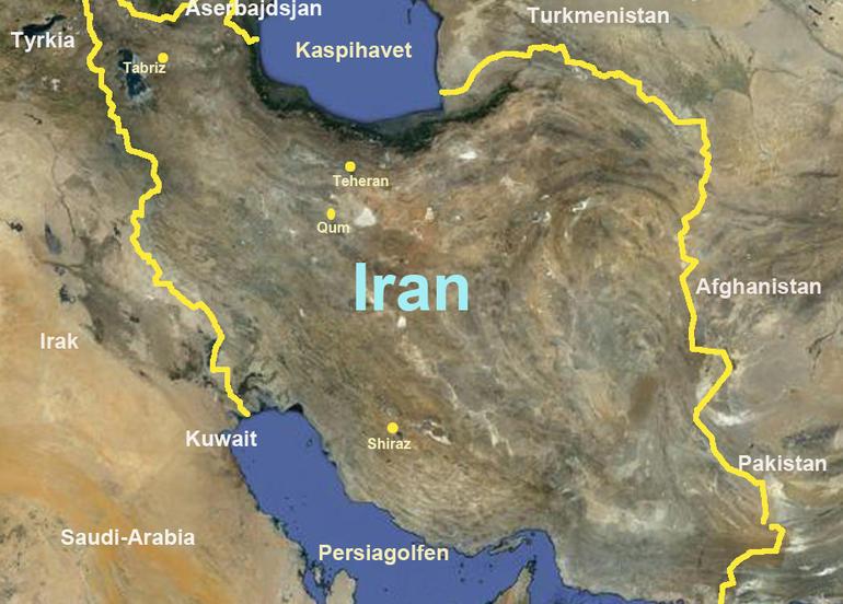 Topografisk kart over Iran