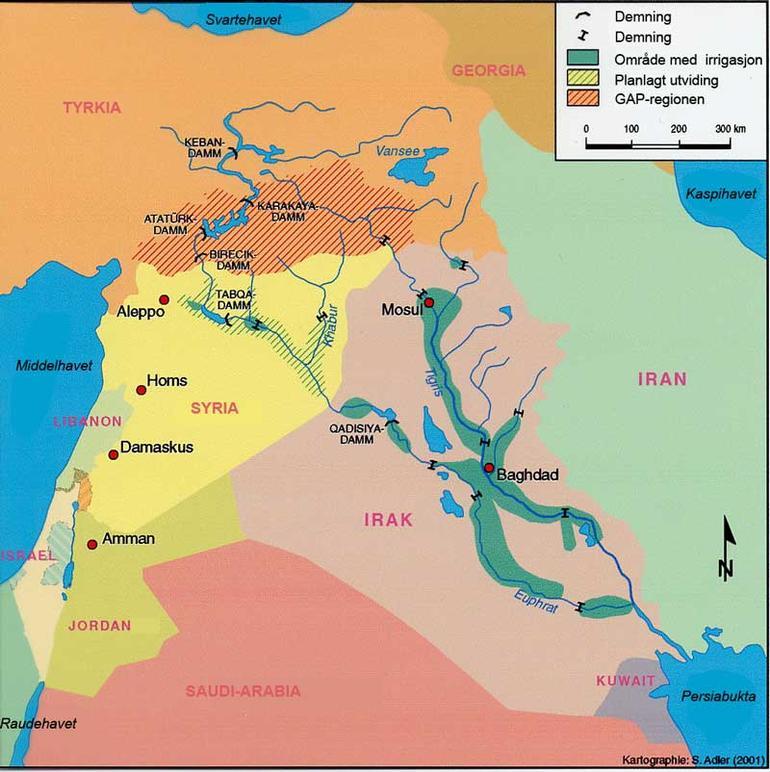 Kart over Midtøsten med områder og vannkilder