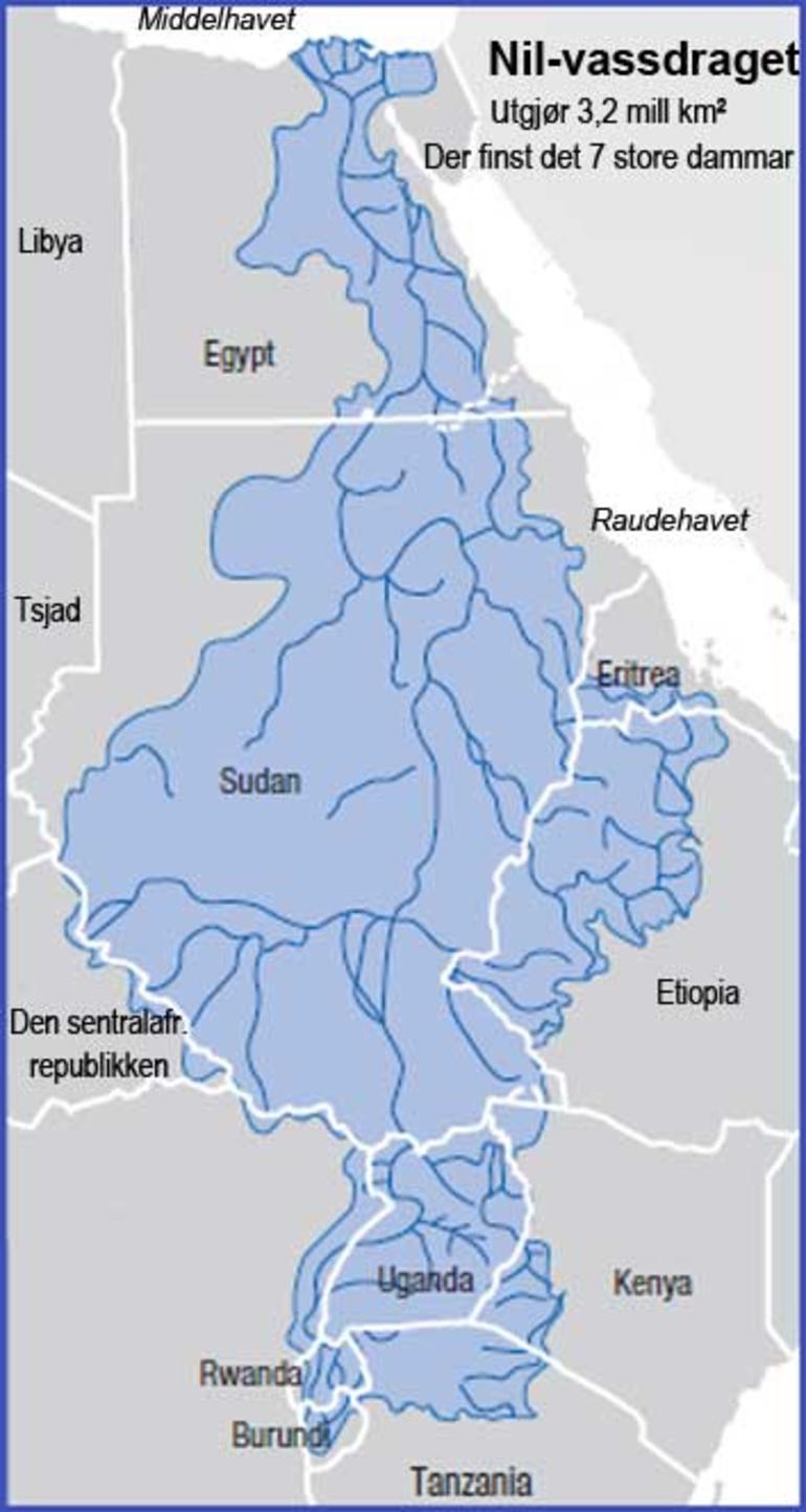 Kart over Nilvassdraget