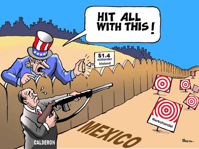 Illustrasjon med en man som skyter på blinker i Mexico
