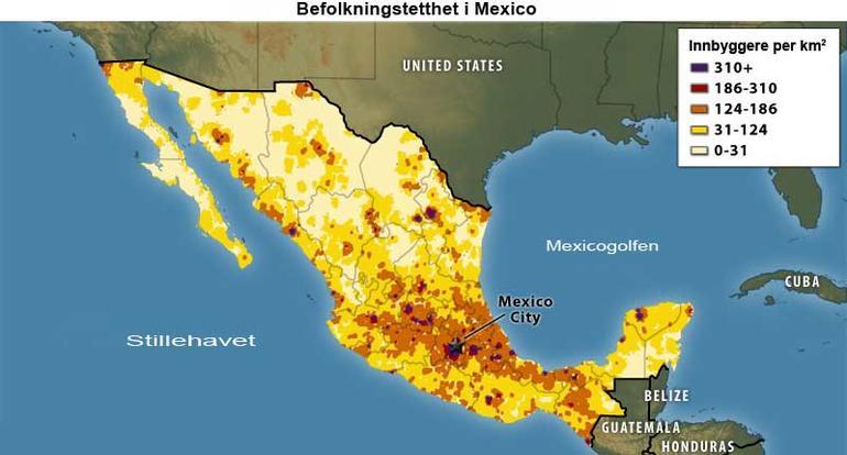 Kart som viser befolkningstetthet i Mexico
