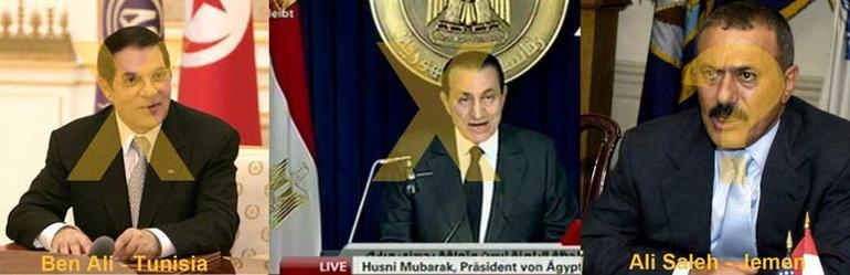 Bilde av presidentene Tunisia, Egypt og Jemen