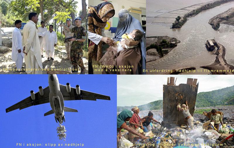 Bilder fra flere av FNs mange virksomhetsområder