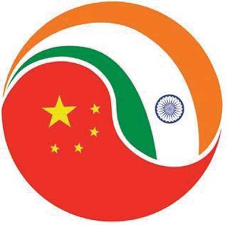 Indias og Kinas flagg i yin-yang-form