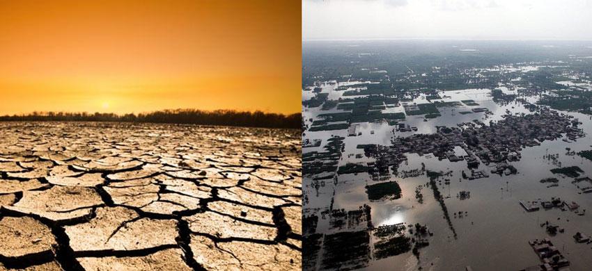 To bilder i ett - for lite og altfor mye vann