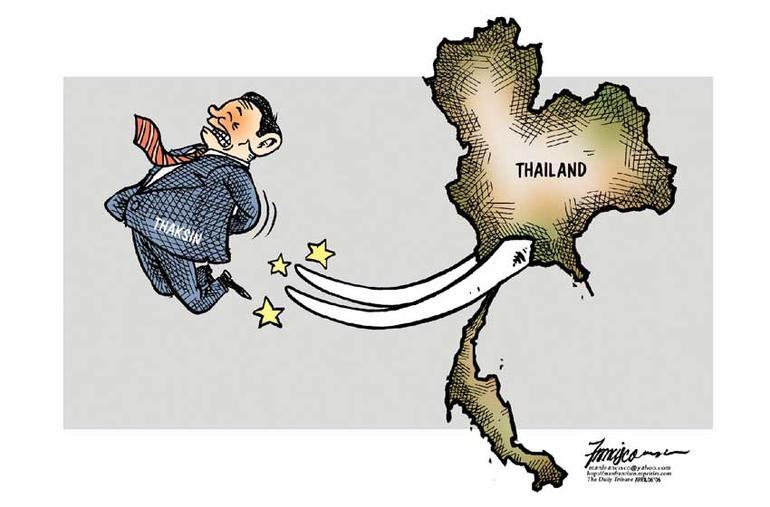 Illustrasjon av at Thailand kaster ut Thaksin