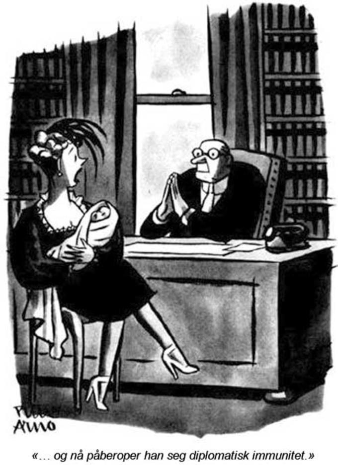 Karikaturtegning av diplomatis immunitet
