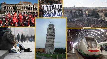 Kollasje med forskjellige bilder av dagens Italia