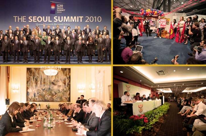 Kollasje med bilder fra ulike fora der diplomater ferdes