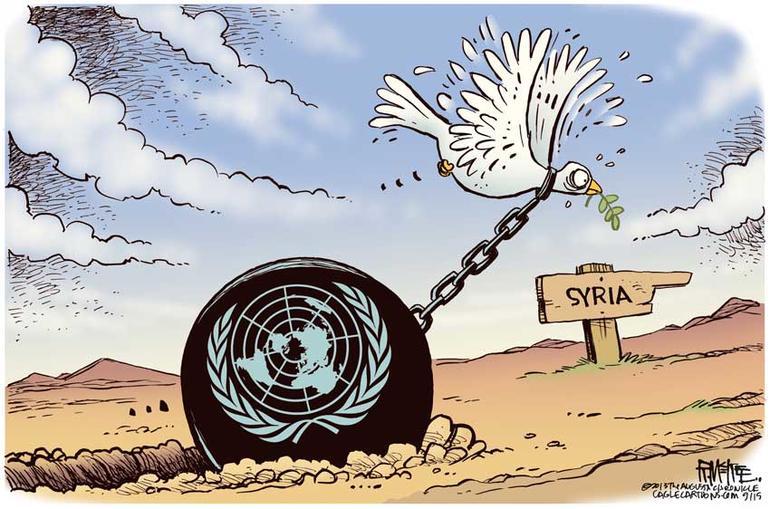 Tegning av fredsdue i Syria med dårlige vilkår