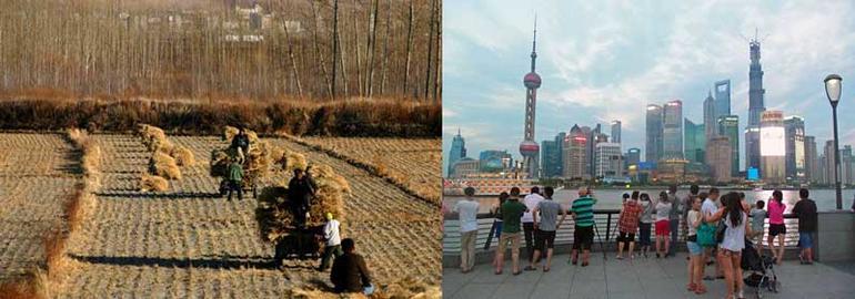 to bilder i ett - kontraster i Kina