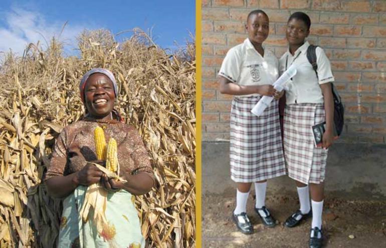 Bilde av ein bonde og to skolejenter