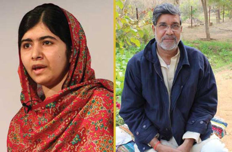 Bilde av Malala og Kailash. Begge to vant Nobels fredspris i 2014