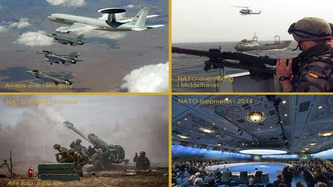 Kollasje med forskjellige situasjonsbilder fra NATOs aktiviteter