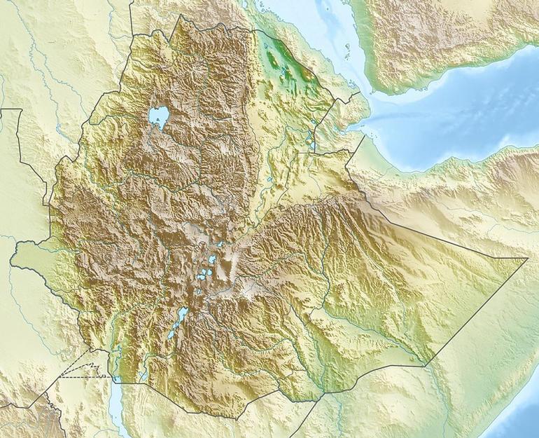 Topografisk kart over Etiopia