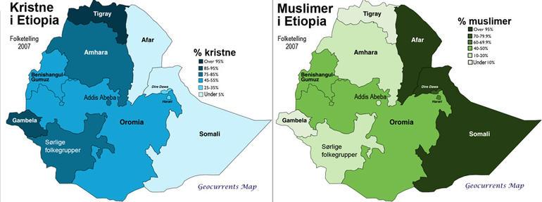 De religiøse hovedgruppene i Etiopia og deres lokalisering