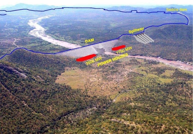 Bilde av Renessansedammen (ferdig i 2016) som Etiopia bygger ut på Den blå Nilen.