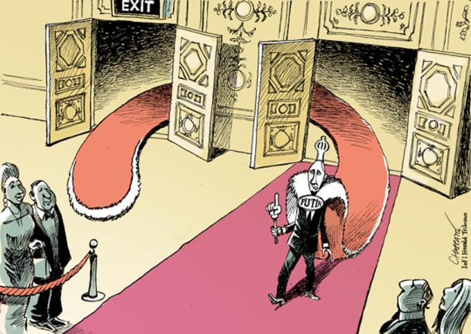 Tegning av Putin som vender tilbake til presidentembetet.