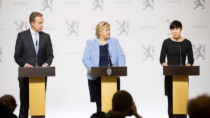 Bilde av ministre på en pressekonferanse om norsk Afghanistan-politikk