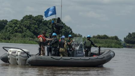 Bilde som viser FN-styrke frå UNMISS på elv i Sør-Sudan