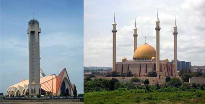 Eit bilde sett saman av to - ei kirke og ein moskè