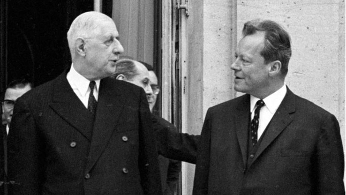Bilde av De Gaulle og Tysklands utenriksminister Willy Brandt