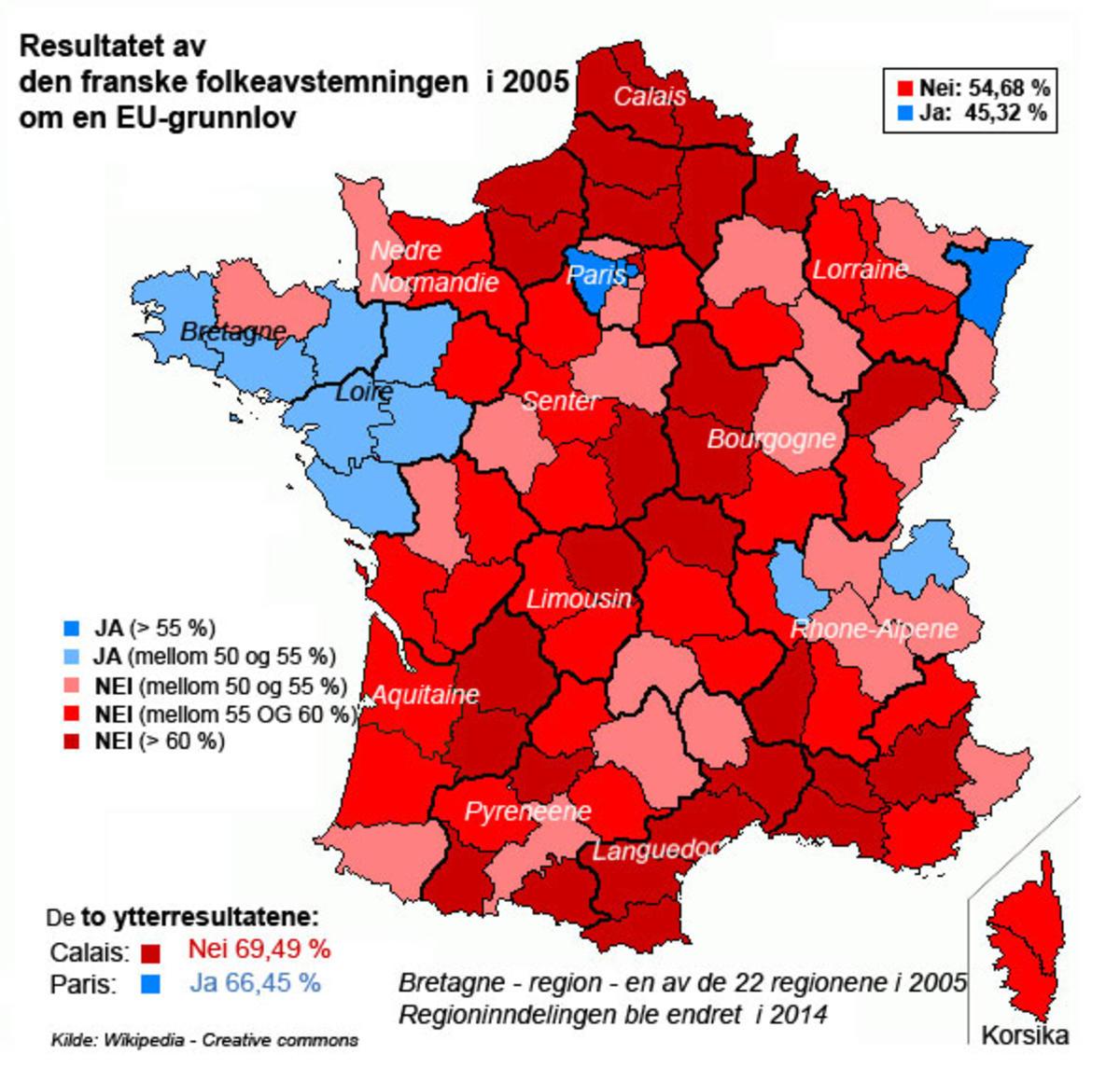 Franske regioner meg ja eller nei-flertall i 2005