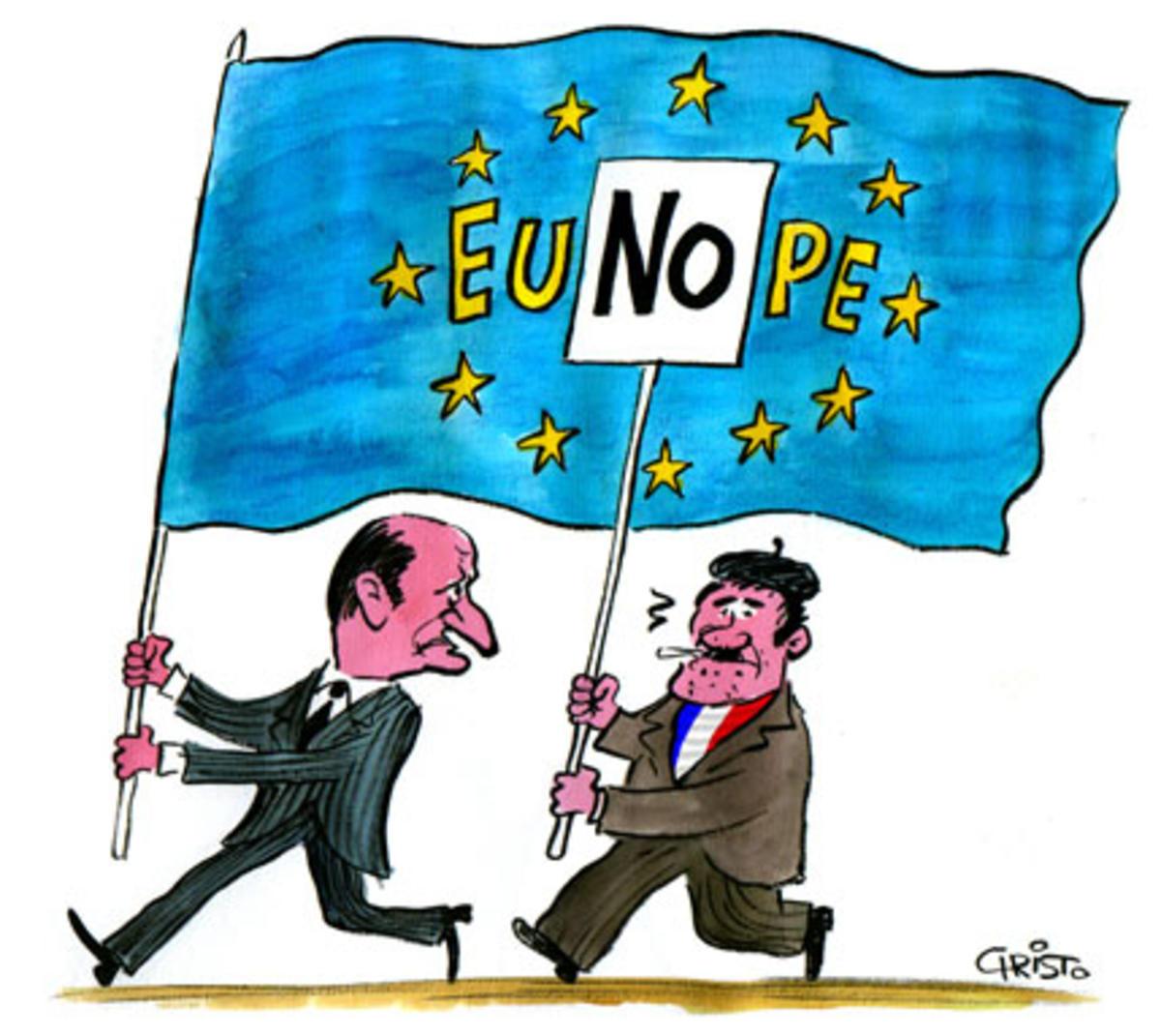 tegning av eliten som sier ja, mens folket sier nei i 2005.