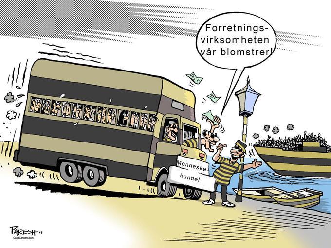 tegning av kriminelle som tjener på flyktninger
