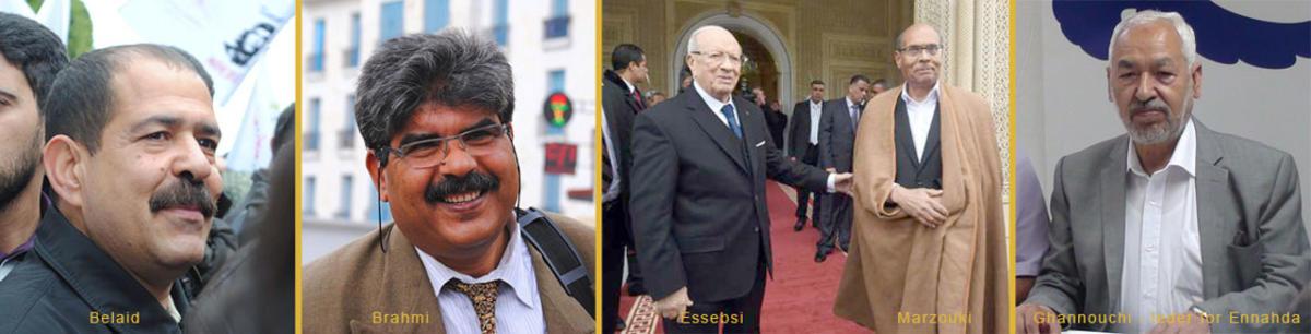 bilder av politiske lederfigurer i Tunisia