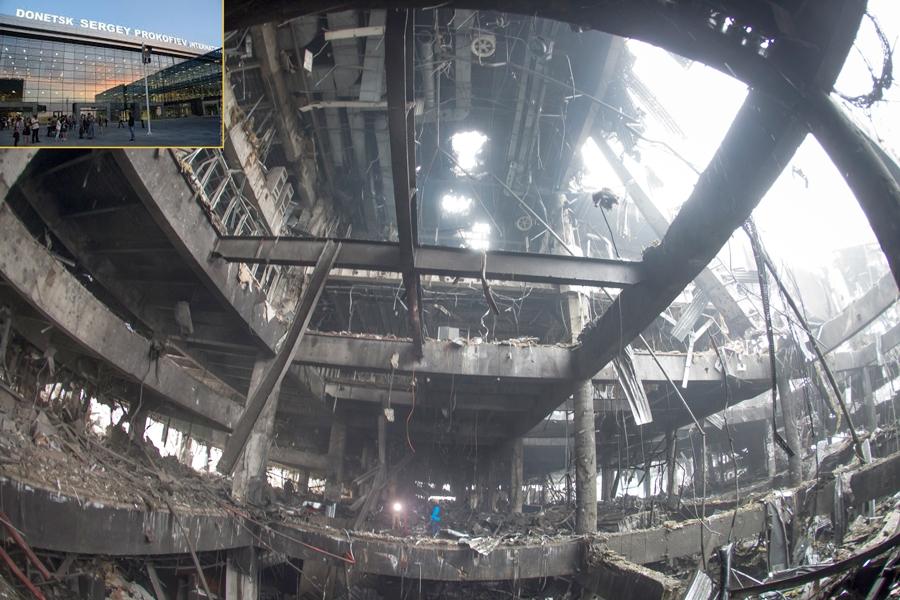 bilde av ødeleggelser i Donets, Ukraina