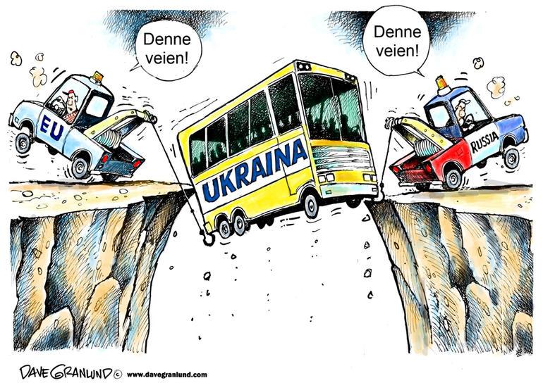 Tegning som viser et Ukraina for stort til å bli løftet både av EU og Russland