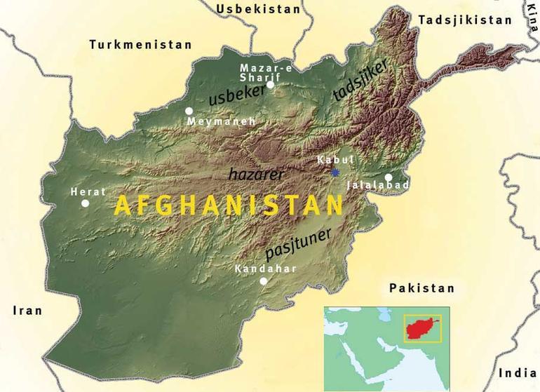 Topgrafisk kart over Afghanistan