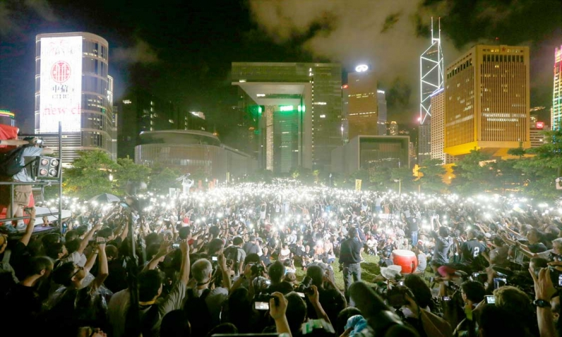Bilde av demonstrasjon for mer demokratid i Hongkong, 2014.