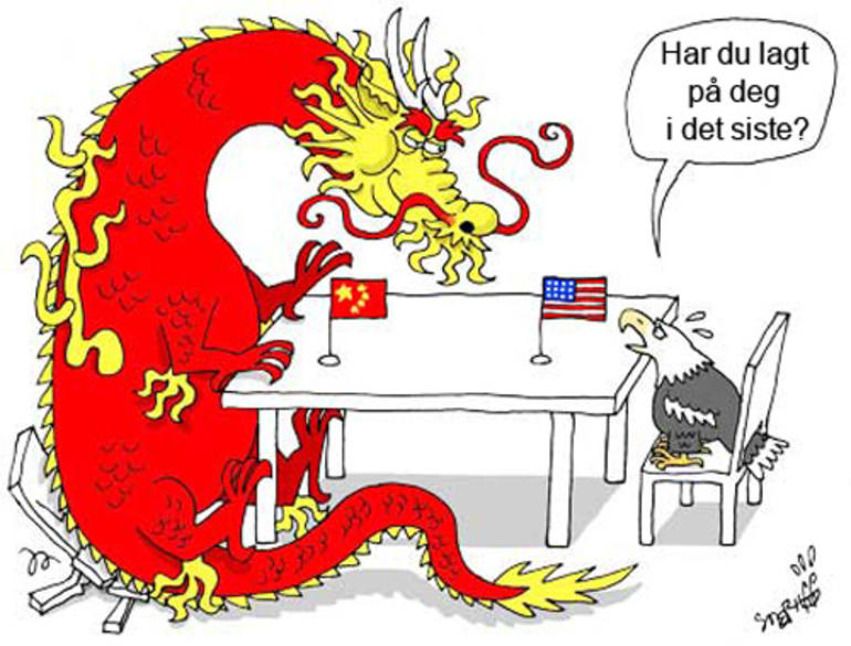 tegning av en stor kinesist drage og en liten amerikansk ørnet
